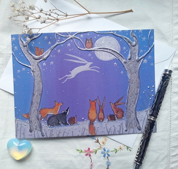 Moon Hare Card - Mystical Hare - Pagan - Wiccan - Moon and Hare