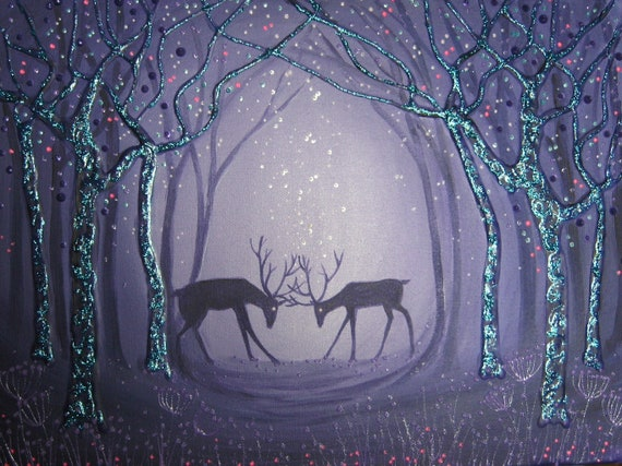 Stag Art - Stag Print - Mystical Stags - Pagan - Fighting Stags