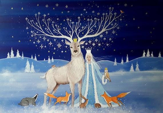 The Arrival of Winter print - Goddess Art - Winter print - Large print