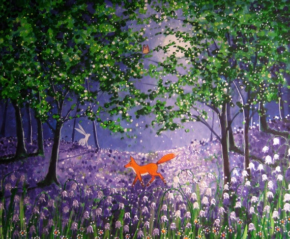 Mystical Forest print - Bluebell Wood - Spring Fox - Fox and Bluebell Print