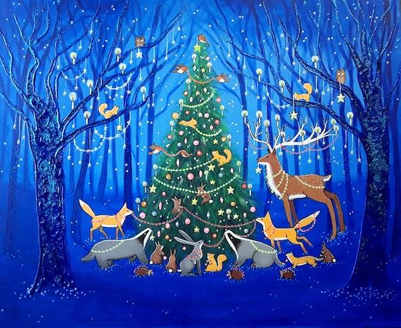 Mystical Christmas Print - Christmas - Woodland - Yule Print - Wildwood Christmas