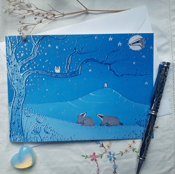 Mystical Tor Card - Glastonbury Tor - Spiritual - Mystical - Badgers - Pagan - Wiccan