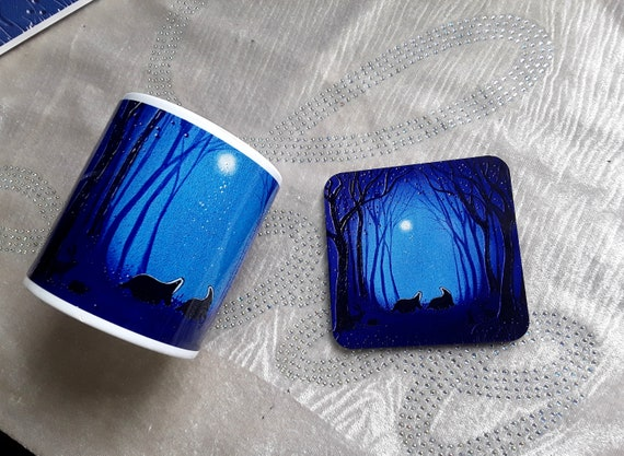 Badger Mug and Coaster - Badger mug - Mug and Coaster Set - Badger Art