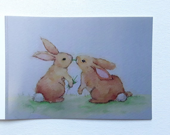 Bunny Kisses -  Art Card - Cute Card - Rabbit - Greeting cards