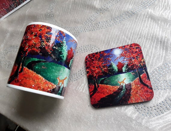 Autumn Fox Mug and Coaster Set -  Autumn Mug - Fox Mug - Fall Fox Mug