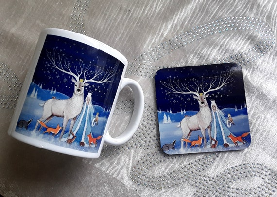 Snow Queen Mug and Coaster - Winter Goddess Mug - Snow Goddess Mug - Mug and coaster set