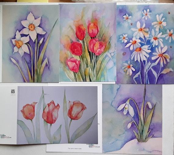 Spring Flower Cards - Spring Art - Snowdrop - Narcissus - Tulips