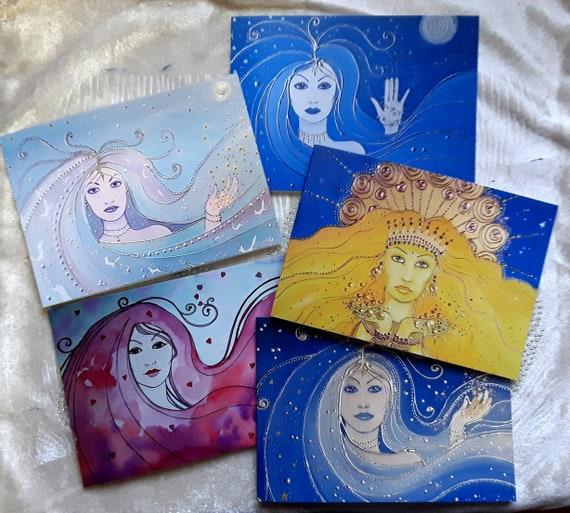 Goddess cards - Set of five art cards - Art Cards - Goddess - Pagan - Wicca