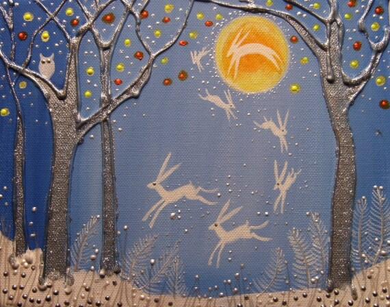"A4 Fine Art Giclee Print ""Moon Hare"""