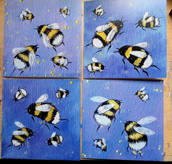 The Bumblebee Collection - Set of four high quality square cards.
