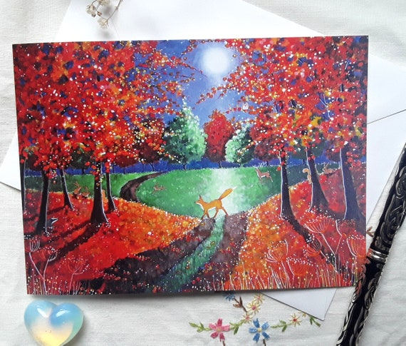 Autumn Fox card - Autumn - Fall - Fox Art - Autumn Forest card