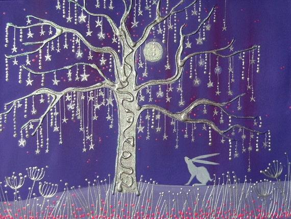 White Hare Card - Star Tree - Mystical Hare - Art Card - Hare Art