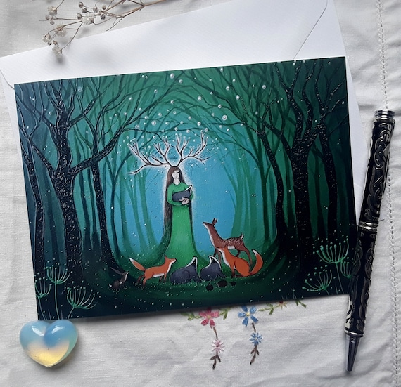 Goddess Card - Forest Goddess - Pagan - Wiccan - Mystical Card - Goddess Art