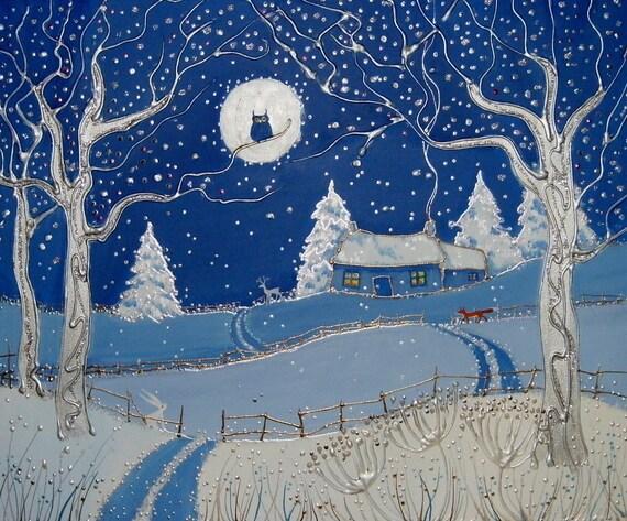 Winter Cottage - Snowy Landscape - Fox in Winter - Winter Art