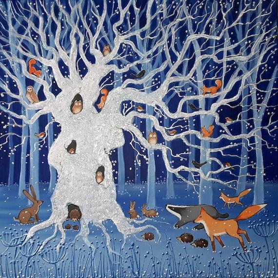 The Old Winter Oak - Mystical Art - Pagan - Spiritual - Woodland Animals