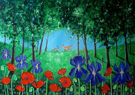 Wildwood Summer - Poppies and Irises - Fox art - Woodland Art