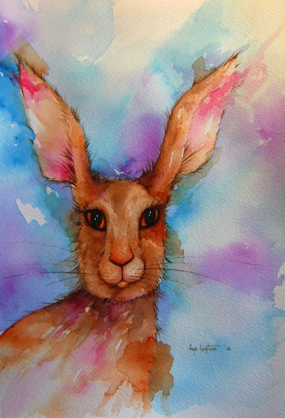Brown Hare portrait - Very high quality art print
