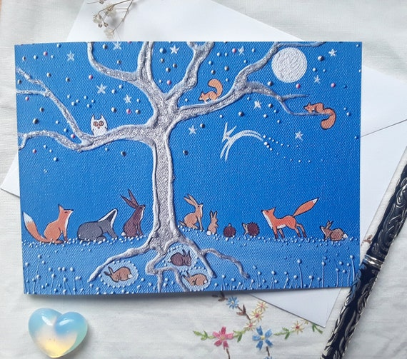 Mystical Tree Card - Enchanted Tree - Woodland Animals - Tree Roots - Hibernating Animals