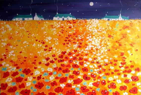 Moonlit Poppies - Poppy Art - Poppy Print - Night Poppies