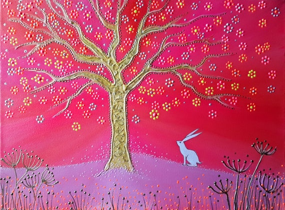 Spirit Hare and the Tree of Life High Quality A4 print.