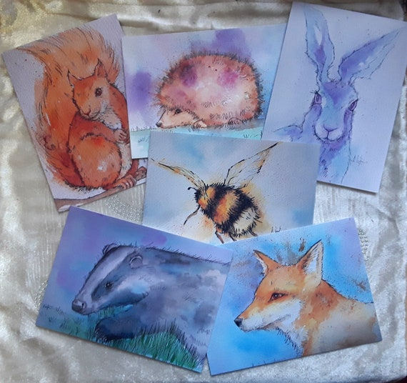 The Endangered Species Collection - Set of six art cards - British Wildlife Cards