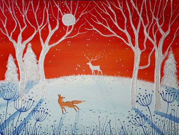 Winter Sunset - Unique original painting by Angie Livingstone