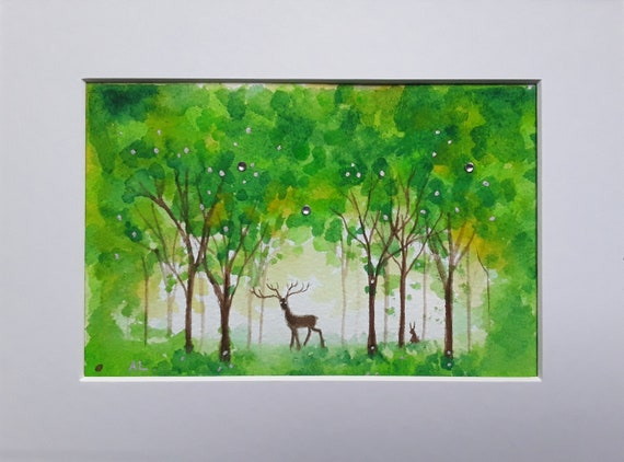 Deep in the Greenwood - Ethereal Watercolour - Stag - Hare - Mystical - Pagan