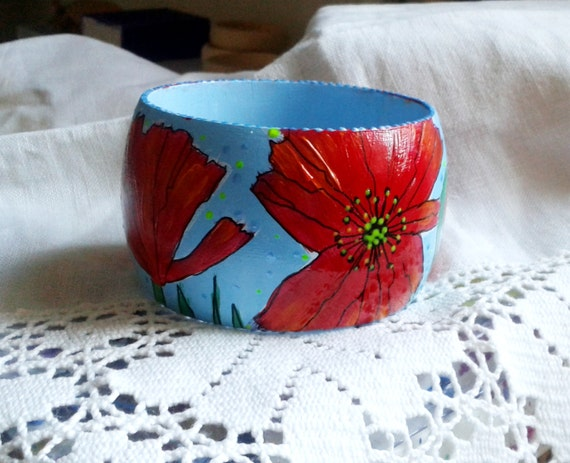 "hand painting wooden bangle ""Poppies"""