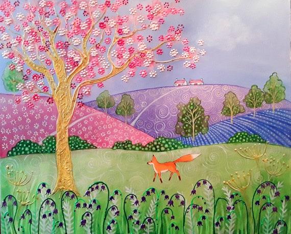 Spring Fox - Art print - Fox and Blossom - Bluebells