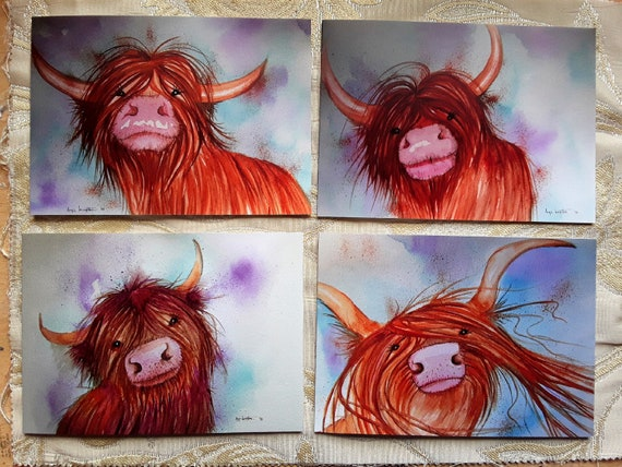 Happy Highland Cows Set of four art cards featuring my original paintings.
