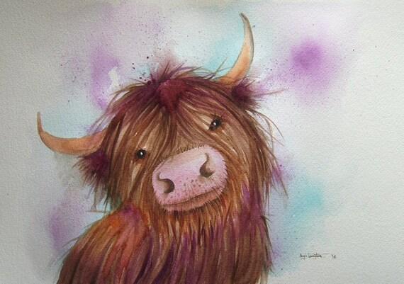 Heeland Coo - Art Print - Highland Cow - Cow Art