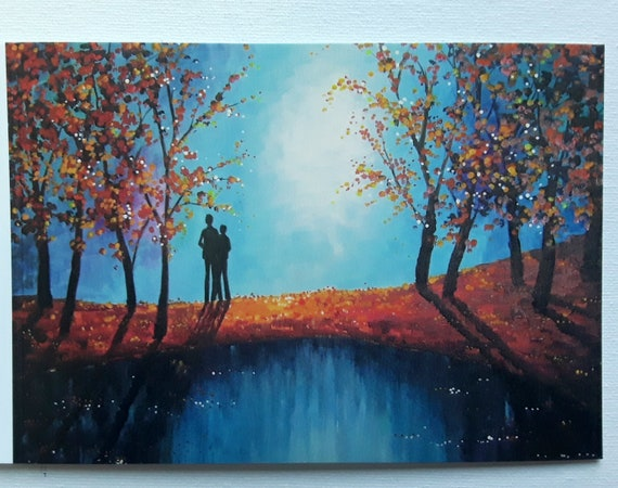 Romantic Card - Valentines Day - The Lovers Pool - Romantic Art - Greeting card - Art Card