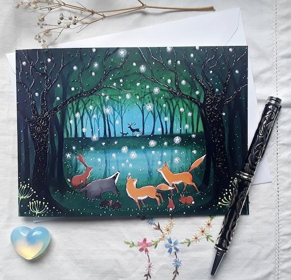 Enchanted  Pool - Mystical Art - Woodland Animals - Fox - Badger - Forest Animals