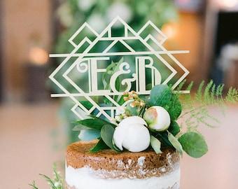 Art Deco cake topper, Monogram cake topper, Vintage wedding cake topper, Winter wedding cake topper
