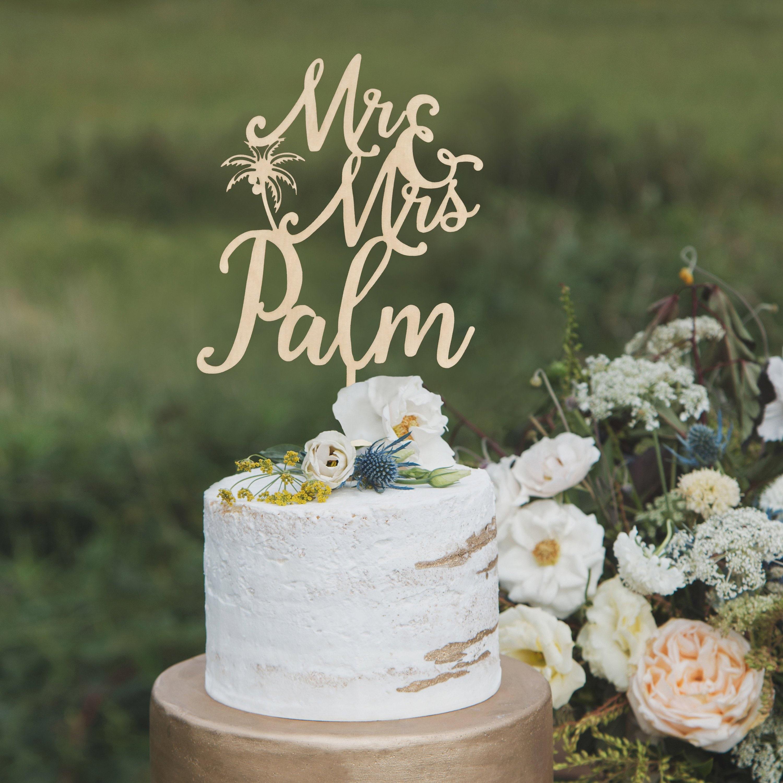Beach wedding cake topper Custom Mr and Mrs cake topper | Etsy