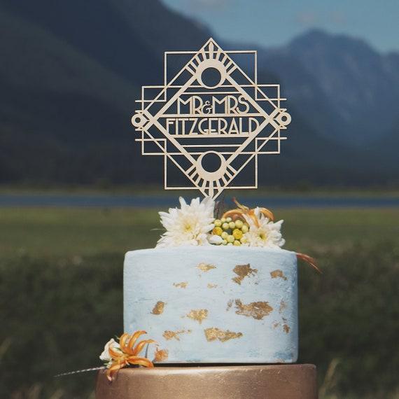 "Gatsby Art Deco Couple Wedding Cake Topper 6/"" W"