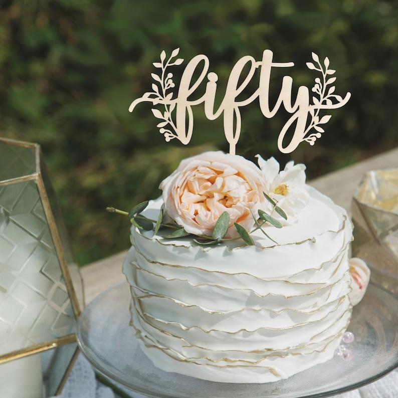 Birthday Cake Topper 50th Happy