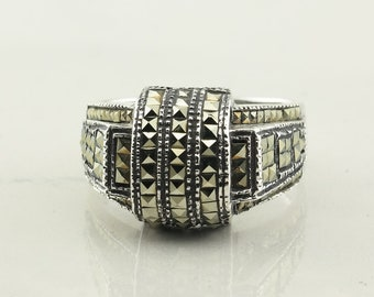Vintage Sterling Silver Ring Marcasite Size 9