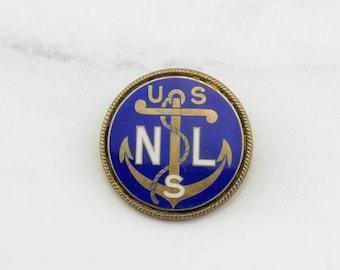 Antique Enamel US Navy, League Silver Brooch Blue Sterling