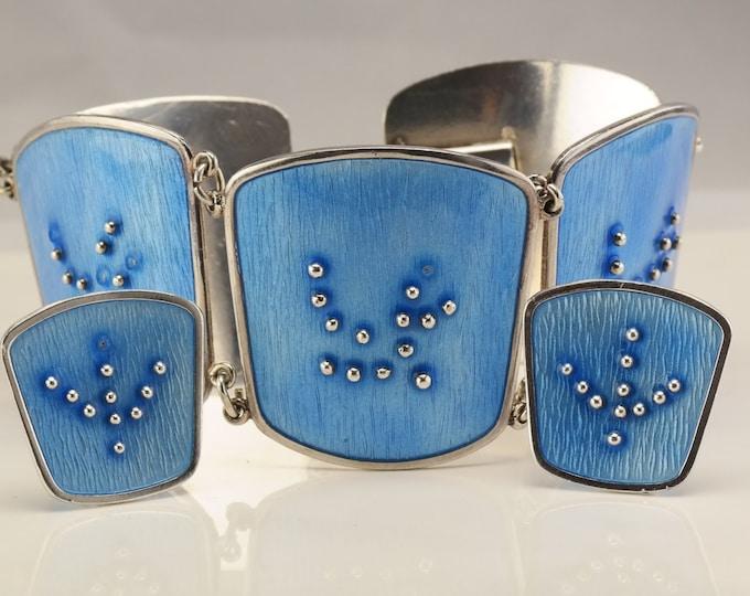 "Featured listing image: Modernist Enamel Sterling Silver Bracelet Link 7"" Norwegian Karl A. Rasmussen"