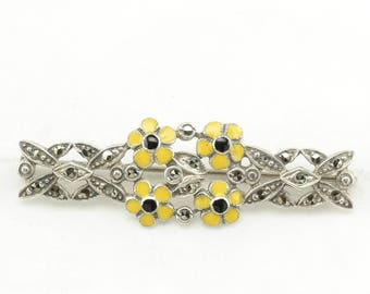 Sterling Silver Vintage Enamel & Marcasite Floral Brooch Yellow