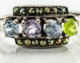 Four Stone Sterling Silver Ring Size 8 Multi Color Peridot, Amethyst, Topaz Vintage Marcasite Ring