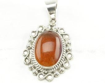 Taxco Amber Sterling Silver Pendant Orange Vintage