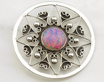 Circle Silver Brooch Opalized Glass Filigree Sterling