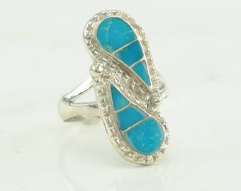 Southwest Turquoise Inlay Sterling Silver Ring Size 7.5 Blue Vintage