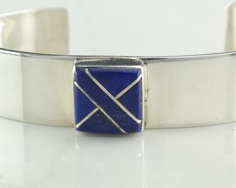 Southwest Sterling Silver Cuff Bracelet Blue Lapis Inlay