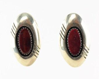 Southwest Sterling Silver Brown Shell Earrings Stud