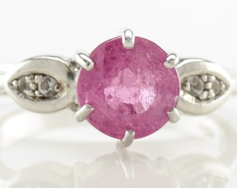 Silver Ruby Ring Size 7 Pink Vintage Sterling