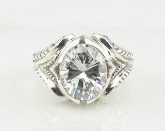 Sterling Silver Ring Oval CZ