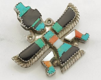Zuni Knifewing Sterling Silver Brooch Inlay Turquoise, Onyx, Coral
